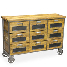 Load image into Gallery viewer, Andri 9 Drawer Apothecary Chest comes in a natural finish with a new industrial style and is available from roomshaped.co.uk