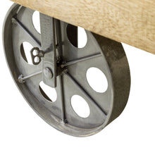 Load image into Gallery viewer, Andri Coffee Table with Wheels comes in a natural finish with a new industrial style and is available from roomshaped.co.uk