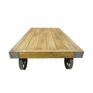 Andri Coffee Table with Wheels comes in a natural finish with a new industrial style and is available from roomshaped.co.uk