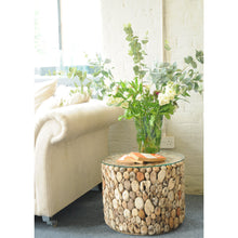 Load image into Gallery viewer, Beam Lamp Table comes in a natural finish with a recycled style and is available from roomshaped.co.uk