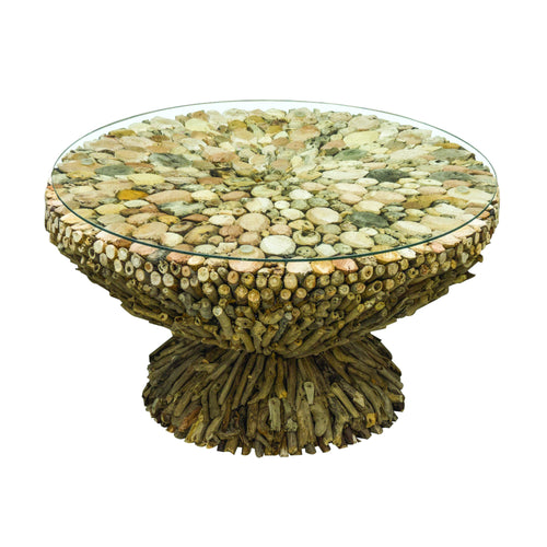 Beam Round Coffee Table comes in a natural finish with a recycled style and is available from roomshaped.co.uk