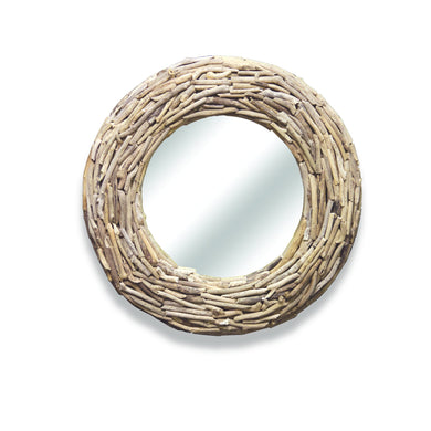 Beam Round Mirror comes in a natural finish with a recycled style and is available from roomshaped.co.uk