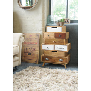 Bella Interesting 8 Drawer Chest comes in a multi-colour finish with a country style and is available from roomshaped.co.uk