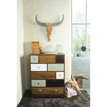 Load image into Gallery viewer, Bella Tall Chest Multi comes in a multi-colour finish with a country style and is available from roomshaped.co.uk