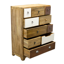 Load image into Gallery viewer, Bella Tall Chest Neutrals comes in a multi-colour finish with a country style and is available from roomshaped.co.uk