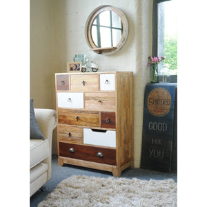 Bella Tall Chest Neutrals comes in a multi-colour finish with a country style and is available from roomshaped.co.uk