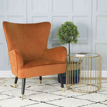 Load image into Gallery viewer, Bridgit Armchair comes in blue and grey and orange with a retro classic style and is available from roomshaped.co.uk