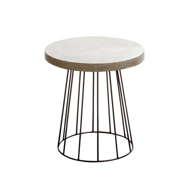 Chai Cement Cage Side Table comes in black and grey with a java style and is available from roomshaped.co.uk