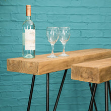 Load image into Gallery viewer, Chai Drinks Table comes in a natural finish with a java style and is available from roomshaped.co.uk