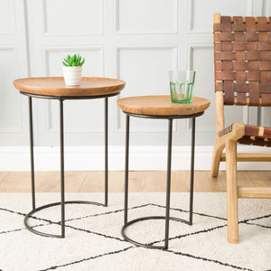 Chai Nest of Tables comes in a natural finish with a java style and is available from roomshaped.co.uk