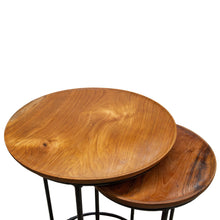 Load image into Gallery viewer, Chai Nest of Tables comes in a natural finish with a java style and is available from roomshaped.co.uk