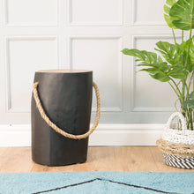 Load image into Gallery viewer, Chai Round Rope Stool comes in black with a java style and is available from roomshaped.co.uk
