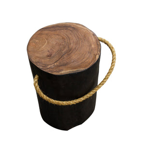 Chai Round Rope Stool comes in black with a java style and is available from roomshaped.co.uk