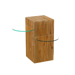 Chai Side Table 2 Shelves comes in a natural finish with a java style and is available from roomshaped.co.uk