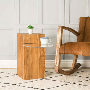 Chai Side Table comes in a natural finish with a java style and is available from roomshaped.co.uk