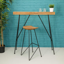 Load image into Gallery viewer, Chai Slim Drinks Table comes in a natural finish with a java style and is available from roomshaped.co.uk