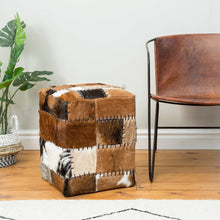 Load image into Gallery viewer, Chau Box Stool comes in a natural finish with a recycled style and is available from roomshaped.co.uk