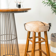 Load image into Gallery viewer, Chau Tall Stool comes in a natural finish with a recycled style and is available from roomshaped.co.uk