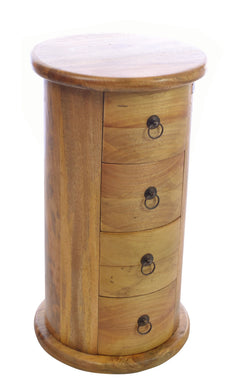 Timoty Round Chest of Drawers comes in an oak finish with a country style and is available from roomshaped.co.uk