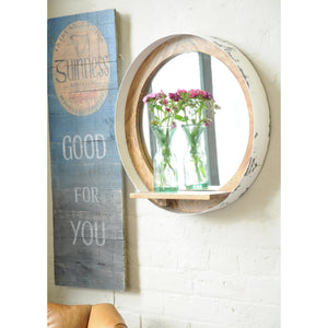 Darren Mirror and Shelf comes in a natural finish and white with a new industrial style and is available from roomshaped.co.uk