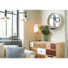 Load image into Gallery viewer, Darren Mirror and Shelf comes in a natural finish and white with a new industrial style and is available from roomshaped.co.uk