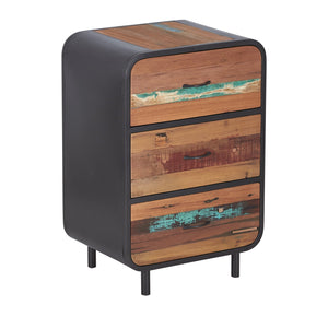 Dea 3 Drawer Chest comes in a multi-colour finish with a recycled style and is available from roomshaped.co.uk