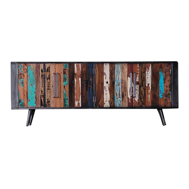 Dea Cupboard Media Unit comes in a multi-colour finish with a recycled style and is available from roomshaped.co.uk