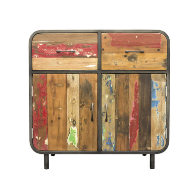 Dea Sideboard Cupboard comes in a multi-colour finish with a recycled style and is available from roomshaped.co.uk