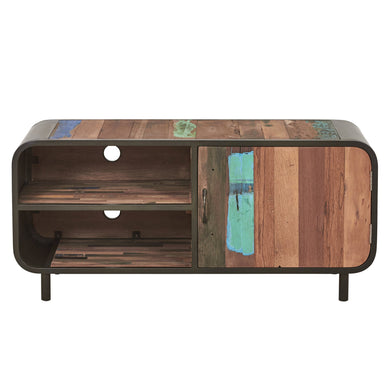 Dea Small Media Unit comes in a multi-colour finish with a recycled style and is available from roomshaped.co.uk