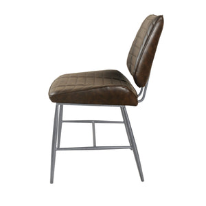 Dini Vegan Leather Chair - Set of 2 comes in brown and chestnut and grey with a new industrial style and is available from roomshaped.co.uk