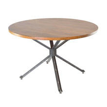 Load image into Gallery viewer, Sheren Round Dining Table comes in a natural finish with a new industrial style and is available from roomshaped.co.uk