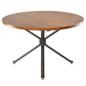 Sheren Round Dining Table comes in a natural finish with a new industrial style and is available from roomshaped.co.uk
