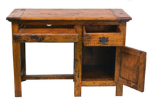 Load image into Gallery viewer, Indah Desk comes in an oak finish with a java style and is available from roomshaped.co.uk