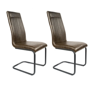 Gita Tall Chair - Set of 2 comes in brown with a new industrial style and is available from roomshaped.co.uk