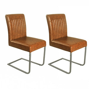 Gita Chair - Set of 2 comes in brown and chestnut and grey with a new industrial style and is available from roomshaped.co.uk