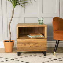 Load image into Gallery viewer, Hanh Side Table comes in a natural finish with a city style and is available from roomshaped.co.uk