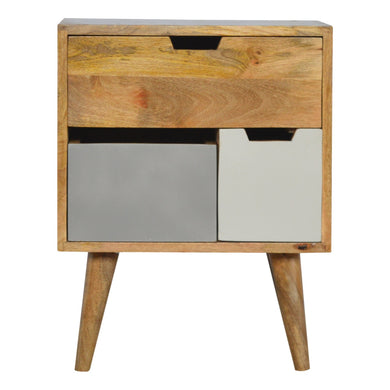Bengt Bedside Table comes in grey with a painted style and is available from roomshaped.co.uk