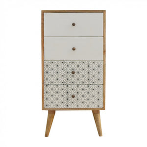 Wilma Painted Tallboy comes in white with a geometric style and is available from roomshaped.co.uk