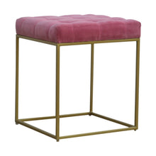 Load image into Gallery viewer, Rafal Footstool comes in pink with a deco style and is available from roomshaped.co.uk