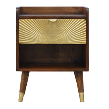 Load image into Gallery viewer, Ravenna Bedside Table comes in chestnut and a gold finish with a metallic style and is available from roomshaped.co.uk