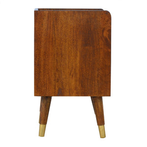 Ravenna Bedside Table comes in chestnut and a gold finish with a metallic style and is available from roomshaped.co.uk
