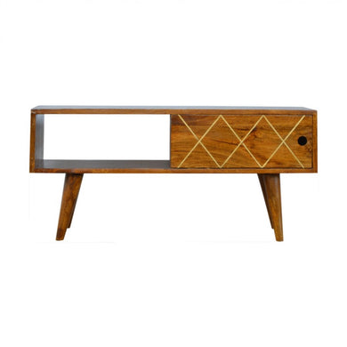 Ellen Low Unit comes in chestnut with a geometric style and is available from roomshaped.co.uk