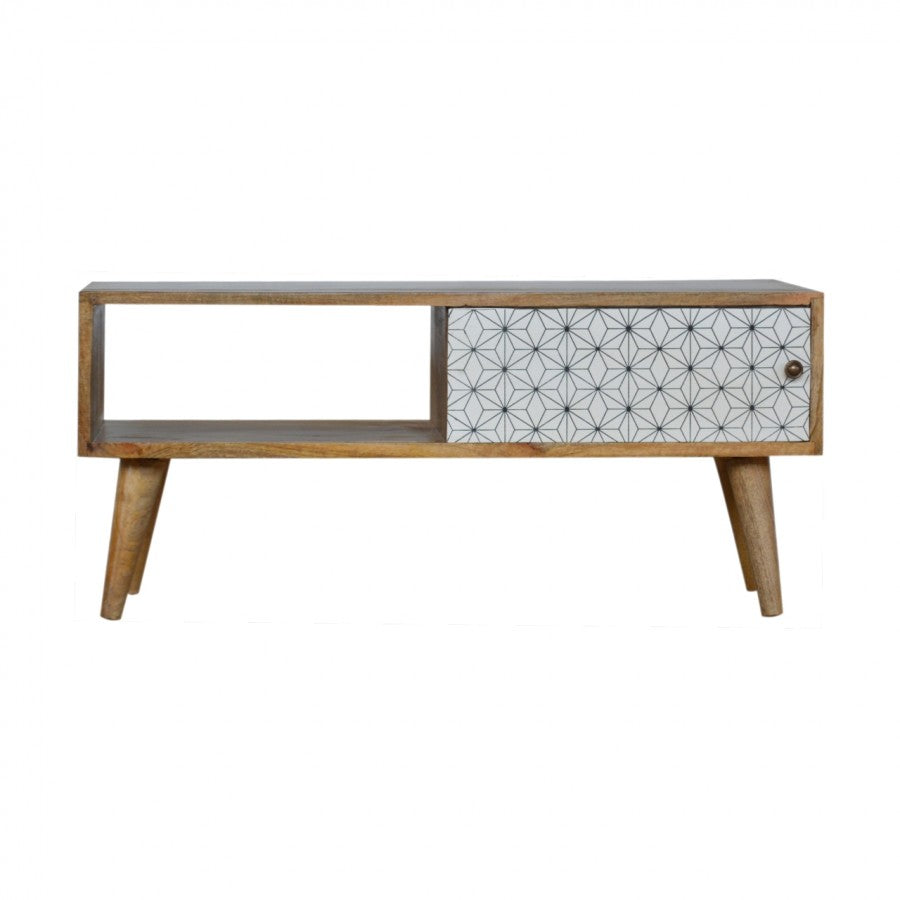 Leah Media Unit comes in white with a geometric style and is available from roomshaped.co.uk