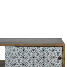 Load image into Gallery viewer, Leah Media Unit comes in white with a geometric style and is available from roomshaped.co.uk