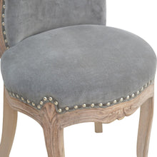 Load image into Gallery viewer, Corentin Chair comes in grey with a deco style and is available from roomshaped.co.uk