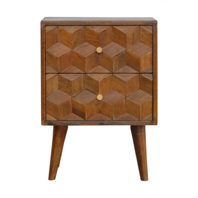 Esther Bedside Table comes in chestnut with a carved style and is available from roomshaped.co.uk