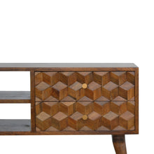 Load image into Gallery viewer, Daria Media Unit comes in chestnut with a carved style and is available from roomshaped.co.uk