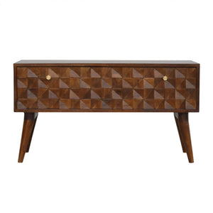 Tomek Storage Bench comes in chestnut with a carved style and is available from roomshaped.co.uk