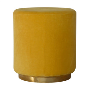 Jagoda Footstool comes in a gold finish and yellow with a deco style and is available from roomshaped.co.uk