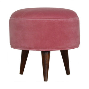 Valeria Footstool comes in pink with a french style and is available from roomshaped.co.uk